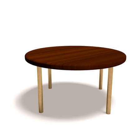 round: Round wooden table on white background.3D rendering illustration.