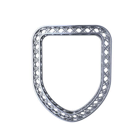 truss: Truss frame in form of shield. Isolated on white background.3D rendering illustration. Stock Photo