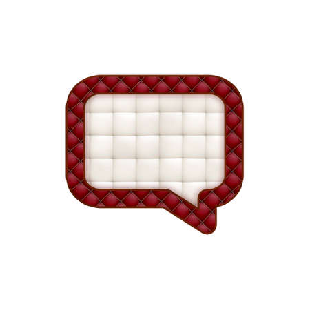 leatherette: Leather textured badge in form of bubble speak. Isolated on white background. Stock Photo