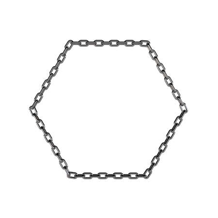 metal chain: Metal chain in form of hexagon. Isolated on white background.3D rendering illustration.
