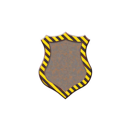 hazard stripes: Metal badge with warning stripes in form of shield. Isolated on white background.