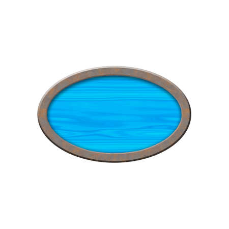 metallic border: Wooden badge with metallic border in form of oval.Isolated on white background.