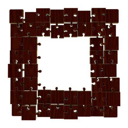 disconnection: Puzzle frame in form of square.Wooden puzzle.Isolated on white background.3D rendering illustration.