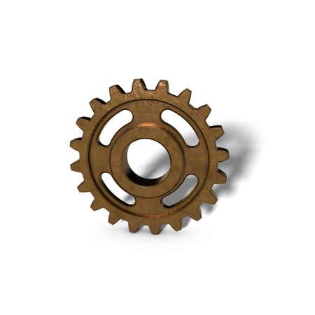 Metallic cogwheel on white background. 3D rendering illustration.