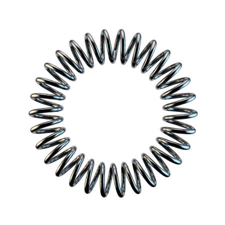 form a circle: Metal spring in form of circle .Isolated on white background.3D rendering illustration. Stock Photo
