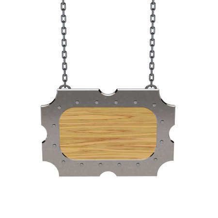 metallic border: Blank wooden signboard with metallic border hanging on chain. Isolated on white background.3D rendering illustration.