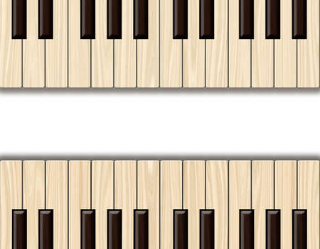 instrument panel: Wood textured background. Wooden plank. Piano keyboard.