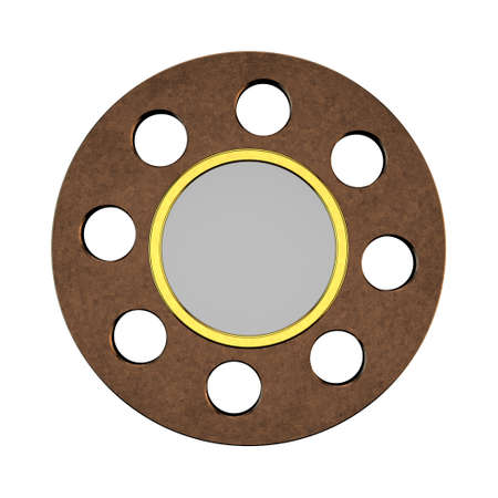 Metal badge in form of circle .Isolated on white background.3D rendering illustration.