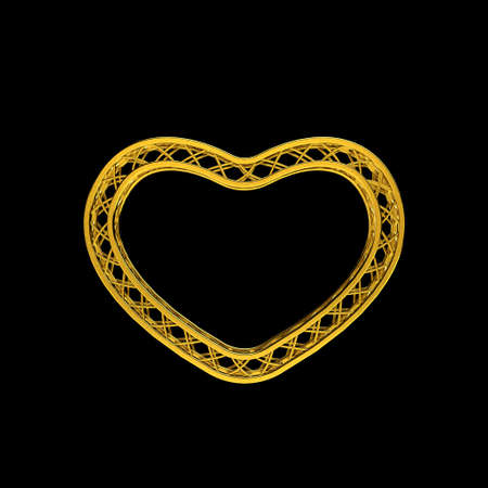 Truss frame in form of heart. Isolated on black background.3D rendering illustration. Stock Photo