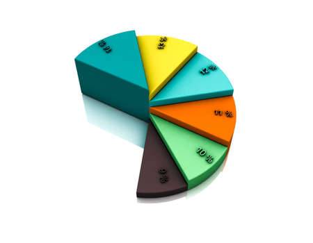 Pie chart template. Isolated on white background. Colorful 3D rendering illustration. Stock Photo