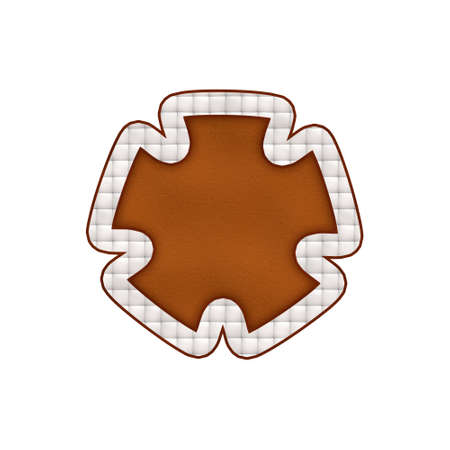 Leather textured badge. Isolated on white background.