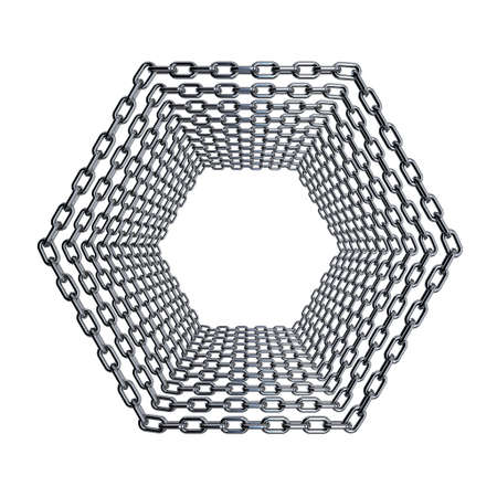 alloy: Metal chain in form of hexagon set. Isolated on white background.3D rendering illustration.