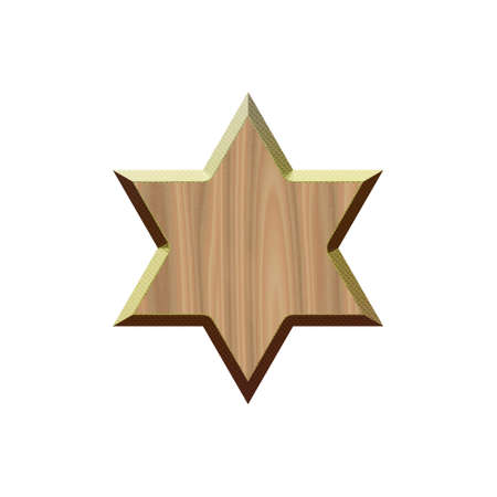 Wooden badge with metallic border in form of six-pointed star.Isolated on white background. Stock Photo