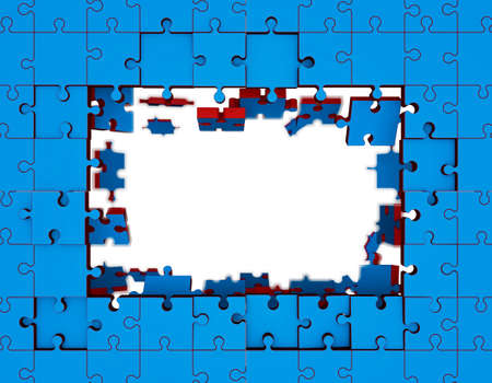 shifting: Puzzle frame in form of rectangle. 3D rendering illustration. Jigsaw puzzle. Disconnected puzzle.