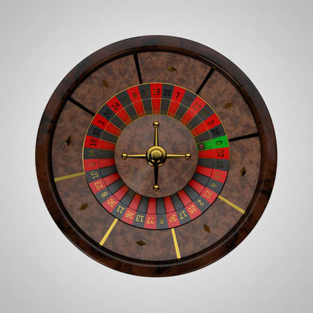 wheel of fortune: Casino roulette wheel. Isolated on white background. 3D rendering illustration.Top view.
