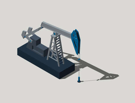 Oil pump jack.Isolated on grey background.3D rendering illustration.Isometric view. Banco de Imagens