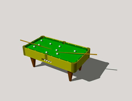 cue ball: Billiard table. Isolated on grey background. 3D rendering illustration.