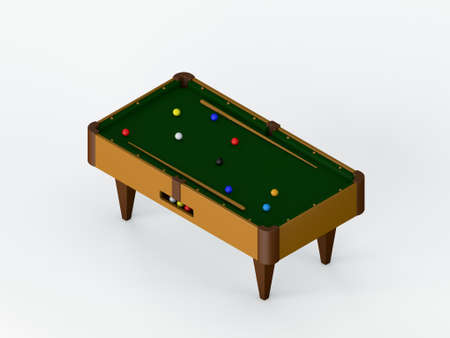 Billiard table.Isolated on white background. 3D rendering illustration. Isometric view.