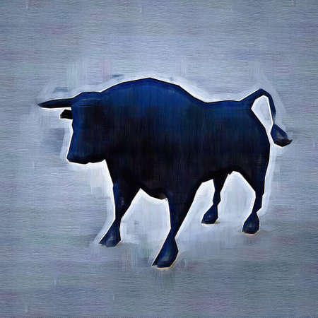 Abstract bull. Drawing style. Digital colorful illustration. Stock Photo