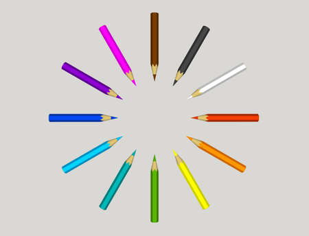 Color pencils. Isolated on gray background. 3D rendering illustration.