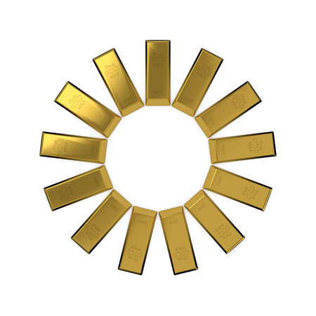 Circle from gold bars.Abstract sun.Isolated on white background. 3D rendering illustration. Stock Photo