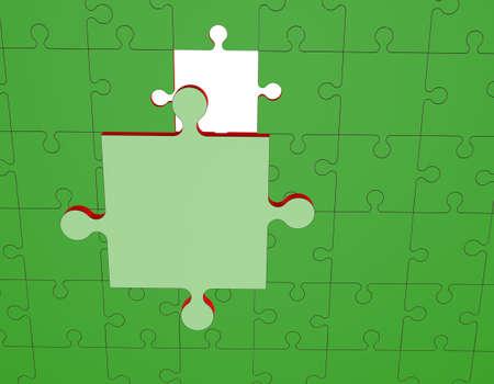 직소 퍼즐. 연결이 끊긴 된 퍼즐 3D 렌더링 그림입니다.