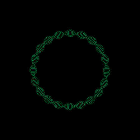 Abstract DNA spiral.Circle. Isolated on black backdrop outline illustration.