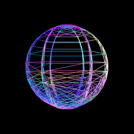 Sphere carcass framework. Isolated on black backdrop Vector colorful illustration. No gradient. Illustration