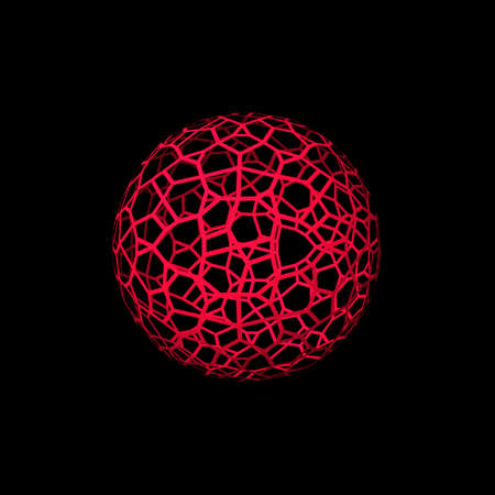 Abstract Sphere wire frame. Isolated on black backdrop 3d Vector illustration.