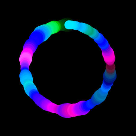 Abstract circle of circles. Isolated on black background. Vector colorful illustration.Luminance effect.