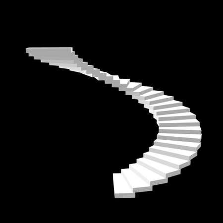 Escalier en colimaçon. Isolé sur fond noir. 3d Illustration vectorielle. Vecteurs