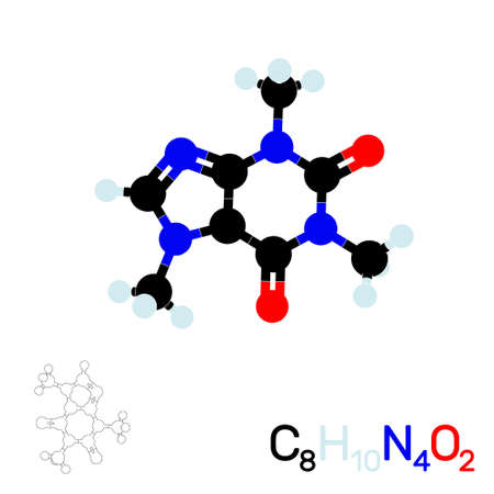 Caffeine model molecule. Isolated on white background. Vector illustration. Flat style.