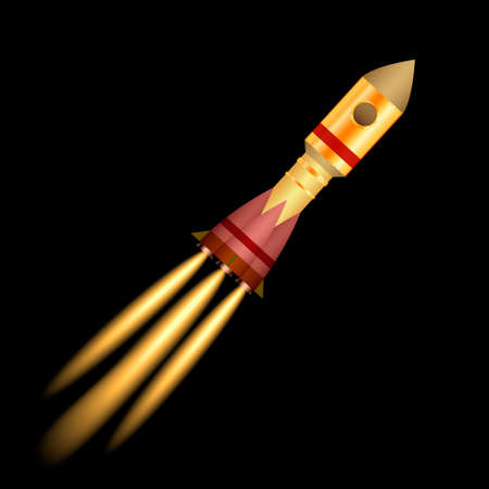 Space rocket launch isolated on black background. Vector illustration