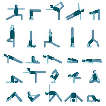 Yoga pose icon set. Collection of asanas. Vector illustration. Illustration