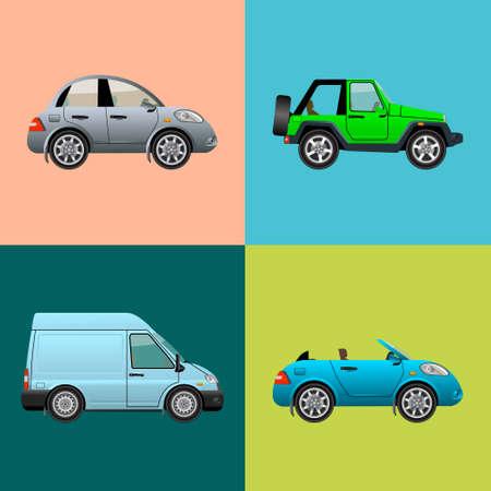 Car icon set isolated. Vector illustration. Illustration