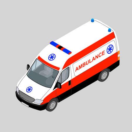3D isometrische ambulance auto geïsoleerd. Vector illustratie.