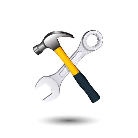 Crossed hammer and wrench. Isolated on white background. Vector illustration. Illustration