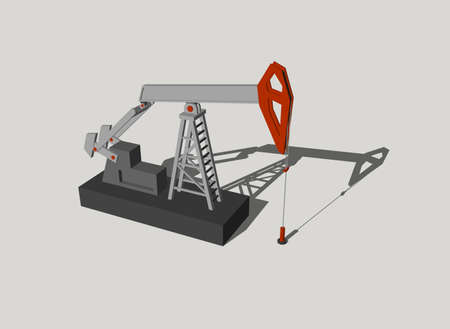 Oil pump jack.Isolated on grey background.3D rendering illustration. Stock Photo