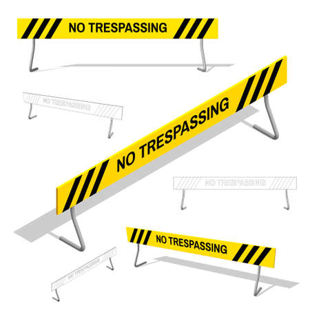 hazard stripes: No Trespassing sign set. Isolated on white background.3d Vector colorful illustration.