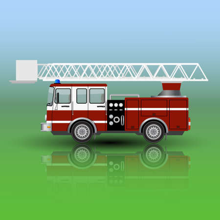 emergency engine: Fire Rescue Truck isolated. Vector illustration. Illustration