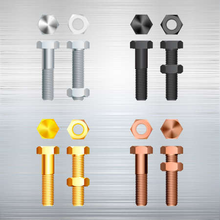 clincher: screw set on a metal background. Vector illustration. Illustration