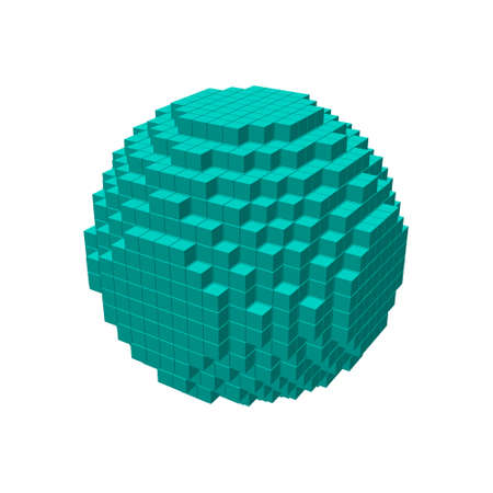 pixelated: 3d pixel sphere.Isolated on white background.Vector illustration.