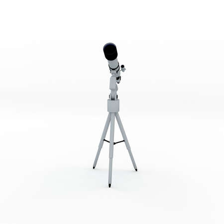 Telescope. Isolated on white background. 3D rendering illustration. Front view.