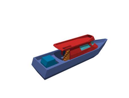 Polygonal motor boat. Isolated on white background. 3D rendering illustration.