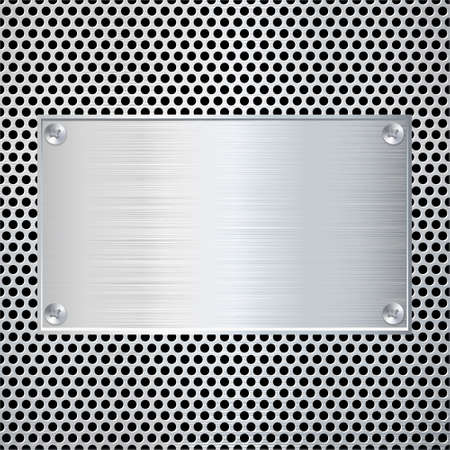 Blank metal plate on dotted texture. Vector illustration.