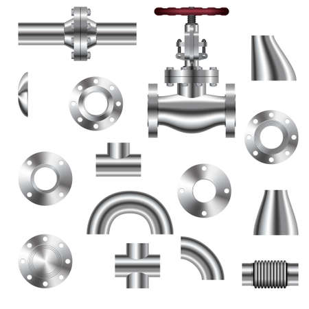 realistic pipeline details isolated on white background. Vector illustration. Vectores