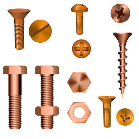 metallic screw set isolated on white background. Vector illustration.