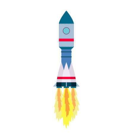 rivets: Space rocket launch isolated on white background. Vector illustration Illustration