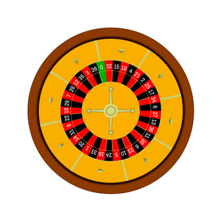 wheel of fortune: Casino roulette wheel. Isolated on white background. 3d Vector colorful illustration.Top view. Illustration