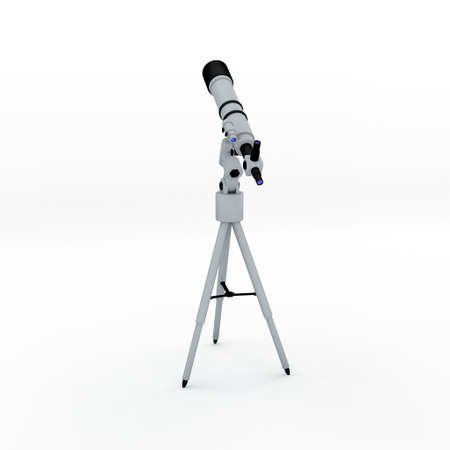 Telescope. Isolated on white background. 3D rendering illustration. Back view. Stock Photo
